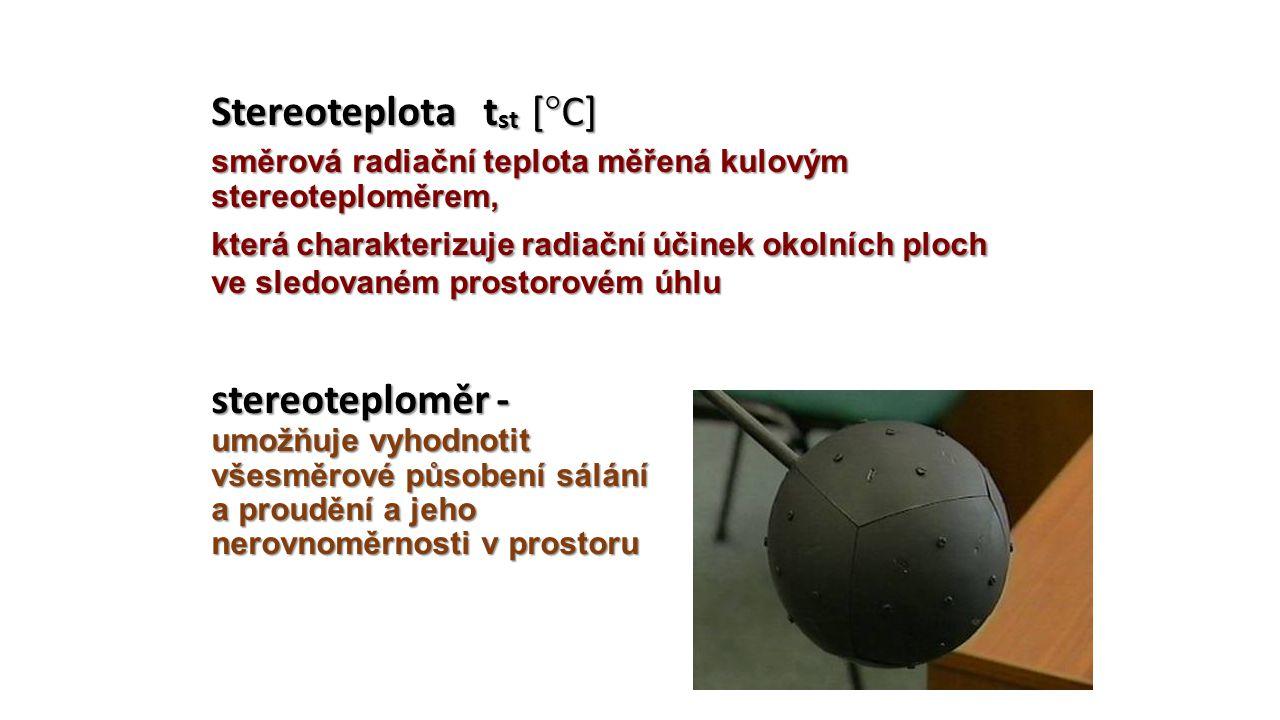 Stereoteplota tst [°C] směrová radiační teplota měřená kulovým stereoteploměrem, která charakterizuje radiační účinek okolních ploch ve sledovaném prostorovém úhlu stereoteploměr - umožňuje vyhodnotit všesměrové působení sálání a proudění a jeho nerovnoměrnosti v prostoru